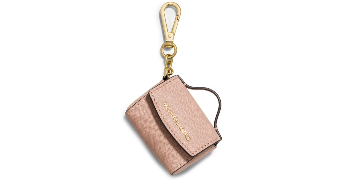 9553a87a05fa Lyst - Michael Kors Ava Saffiano Leather Coin Purse Key Chain in Natural