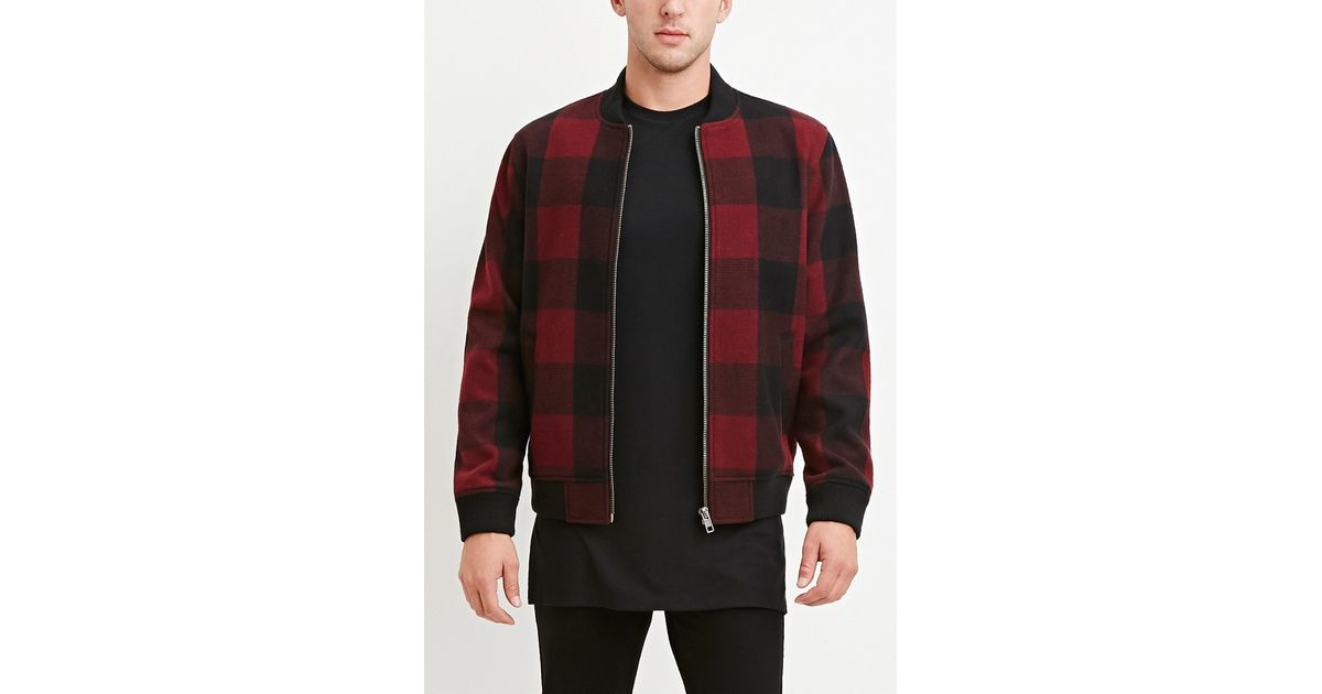 6e48a691d Forever 21 Red Buffalo Plaid Bomber Jacket for men