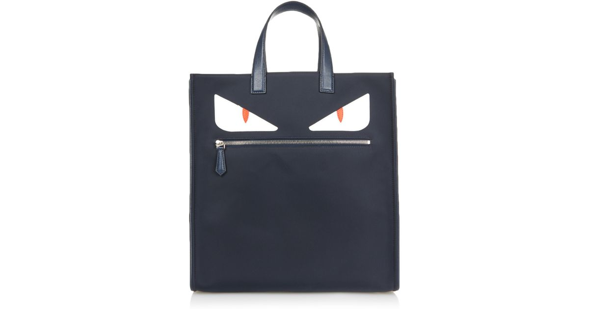 Fendi Bag Bugs Leather And Nylon Tote In Navy Blue For
