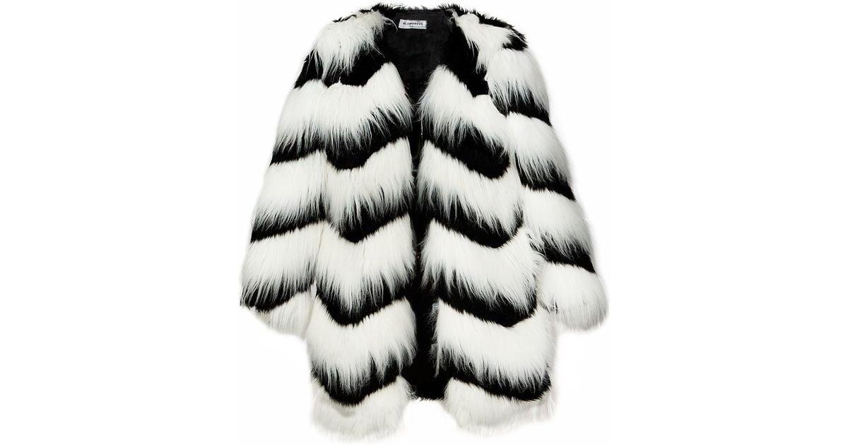 Pixie market Ziggy Black And White Faux Fur Coat in Black | Lyst