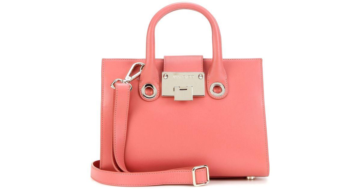 f58c9fc18 ... Jimmy Choo Tote Handbag: Jimmy Choo Riley Leather Tote In Pink ...