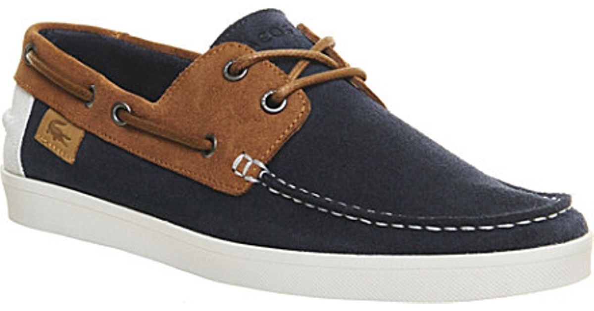 promo code 1ab69 01007 Lacoste Keellson Suede Boat Shoes - For Men in Blue for Men - Lyst ...