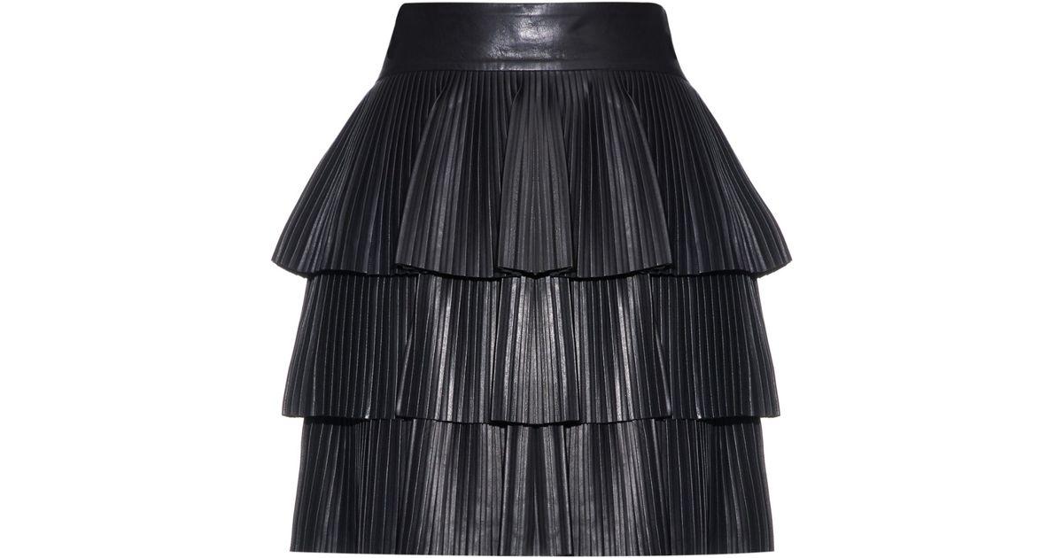 e8fedd46a821 Balmain Pleated-Leather Mini Skirt in Black - Lyst
