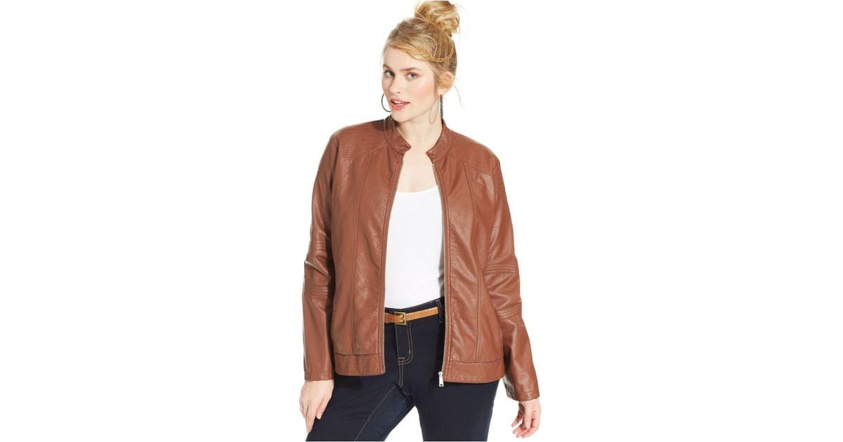 Plus size faux leather bomber jacket