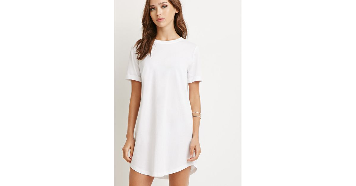 Forever 21 classic t shirt dress in white lyst for Classic white dress shirt