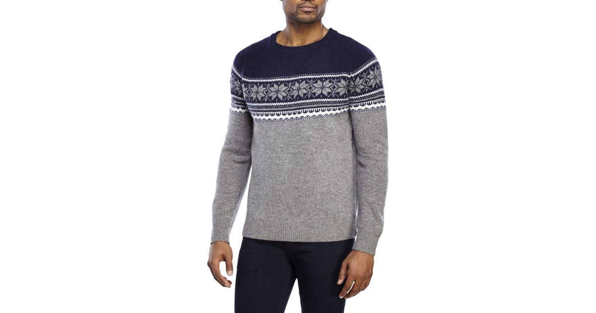Lyst - Barque Fair Isle Wool Sweater in Blue for Men