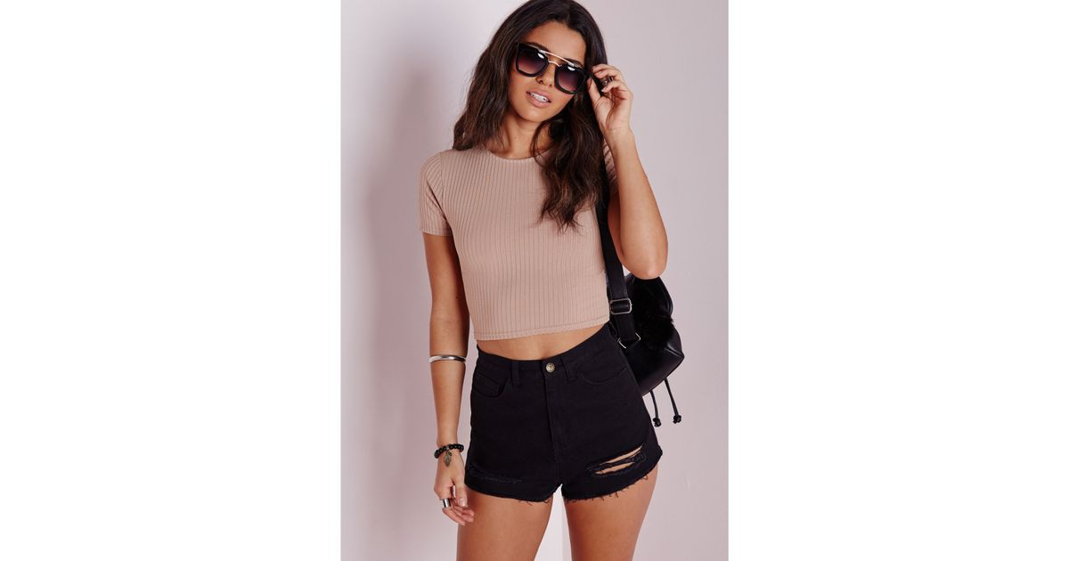 3e1ac5e17cc75 Lyst - Missguided Capped Sleeve Ribbed Crop Top Taupe in Brown