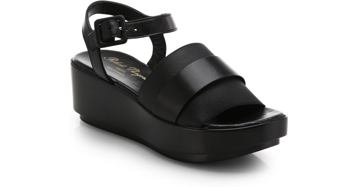 d00ca4e4bc35 Lyst - Robert Clergerie Leather   Elastic Platform Sandals in Black