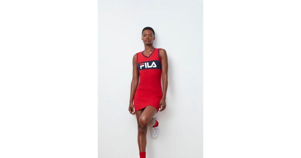 5a44c5472e00 Fila Leigh Rib Dress in Red - Lyst