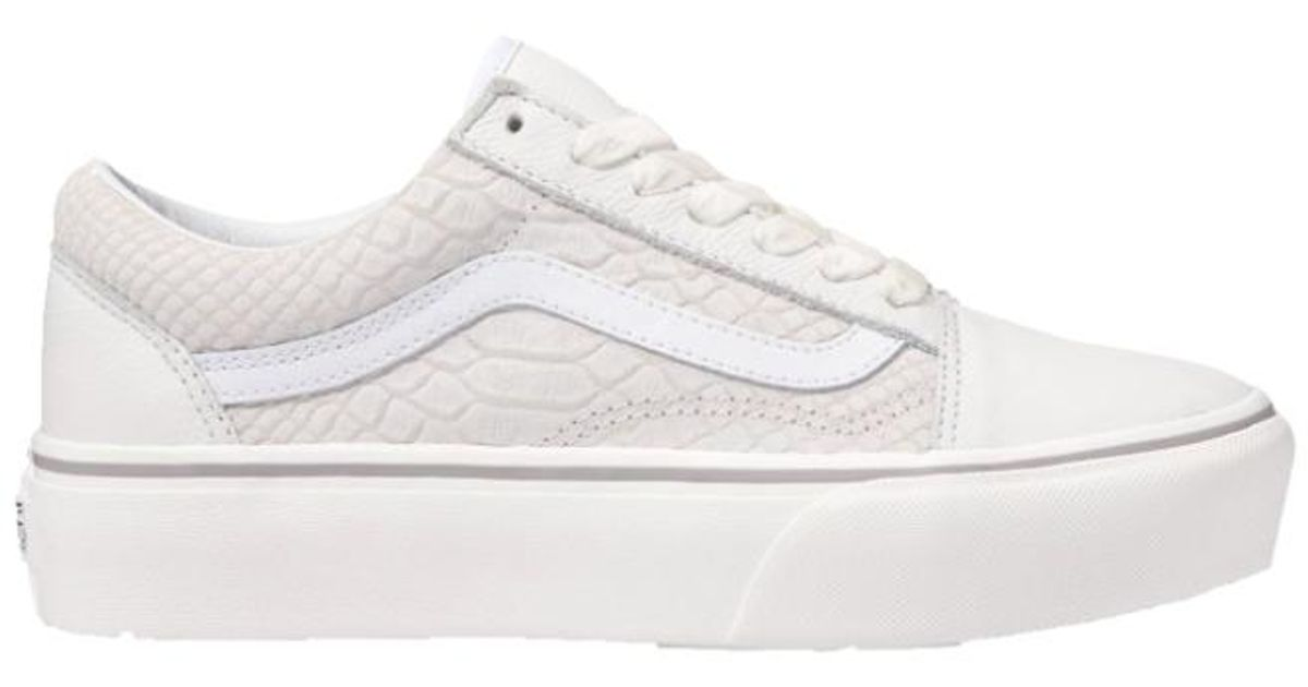 49ddbcd6f751d Vans Women Old Skool Platform Snake Leather Lace-up Sneakers, Snake/ White