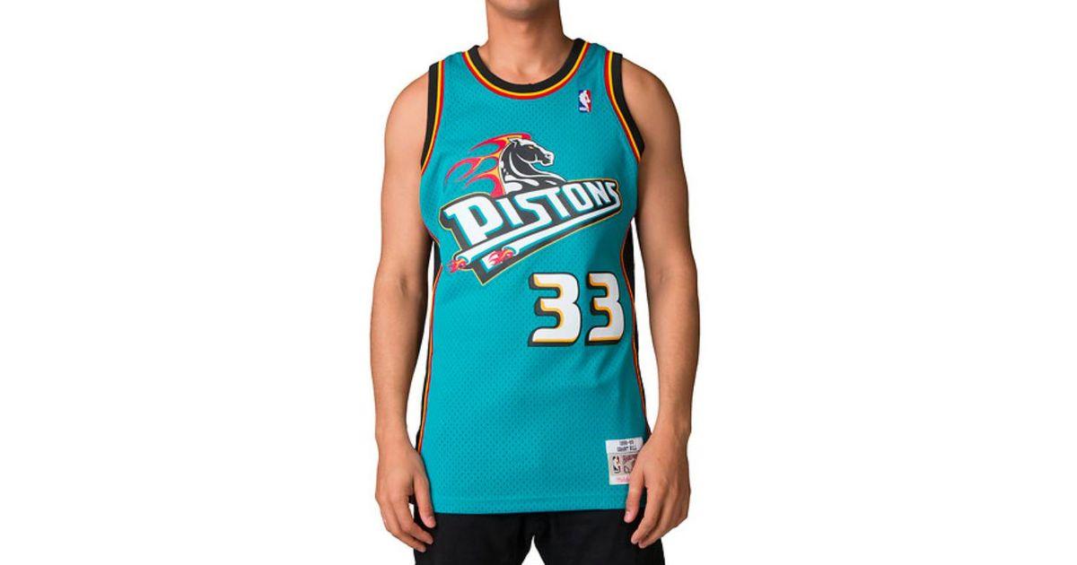 best website a8b58 d1162 Mitchell & Ness Blue Grant Hill Swingman Jersey Detroit Pistons, Teal for  men