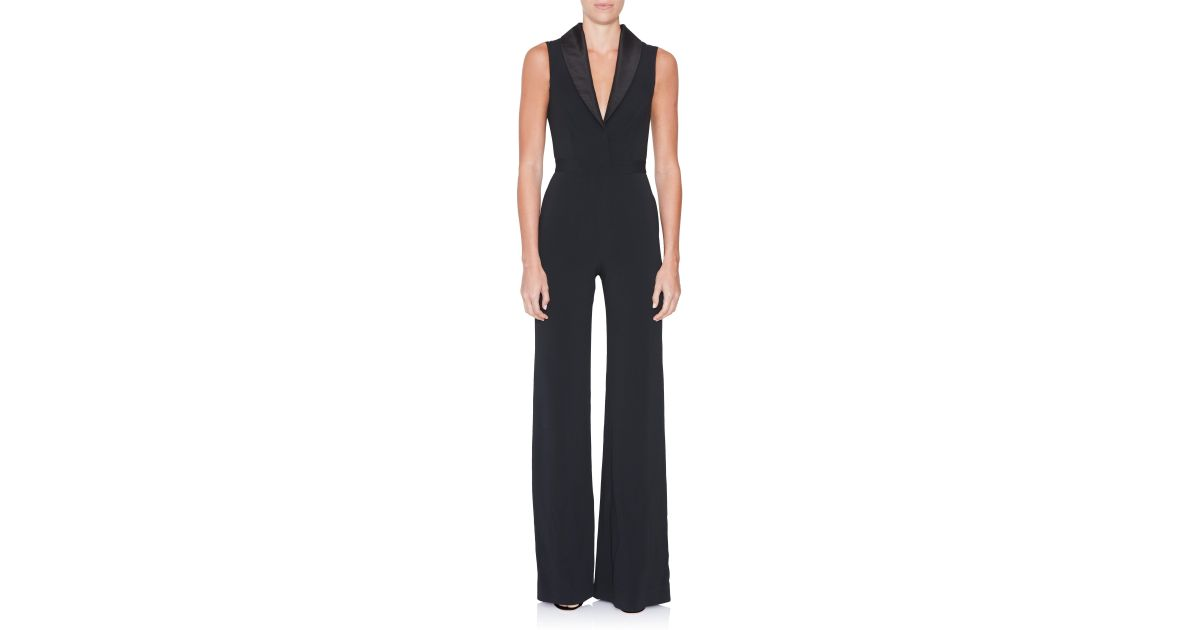 5bf14dedaa7f Brandon Maxwell - Black Sleeveless Shawl Collar Jumpsuit - Lyst