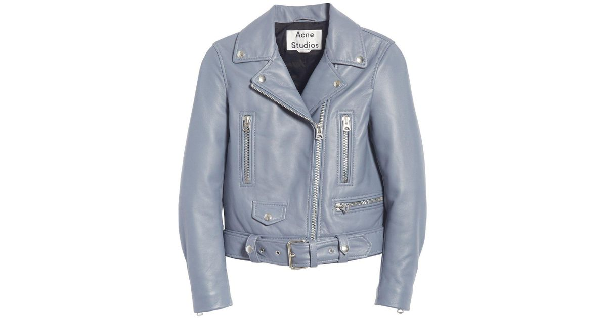 59006d1cf Acne Light Blue Lambskin Moto Jacket By