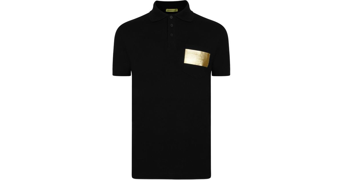 c4a2abd0d Lyst - Versace Jeans Foil Logo Polo Shirt in Black for Men