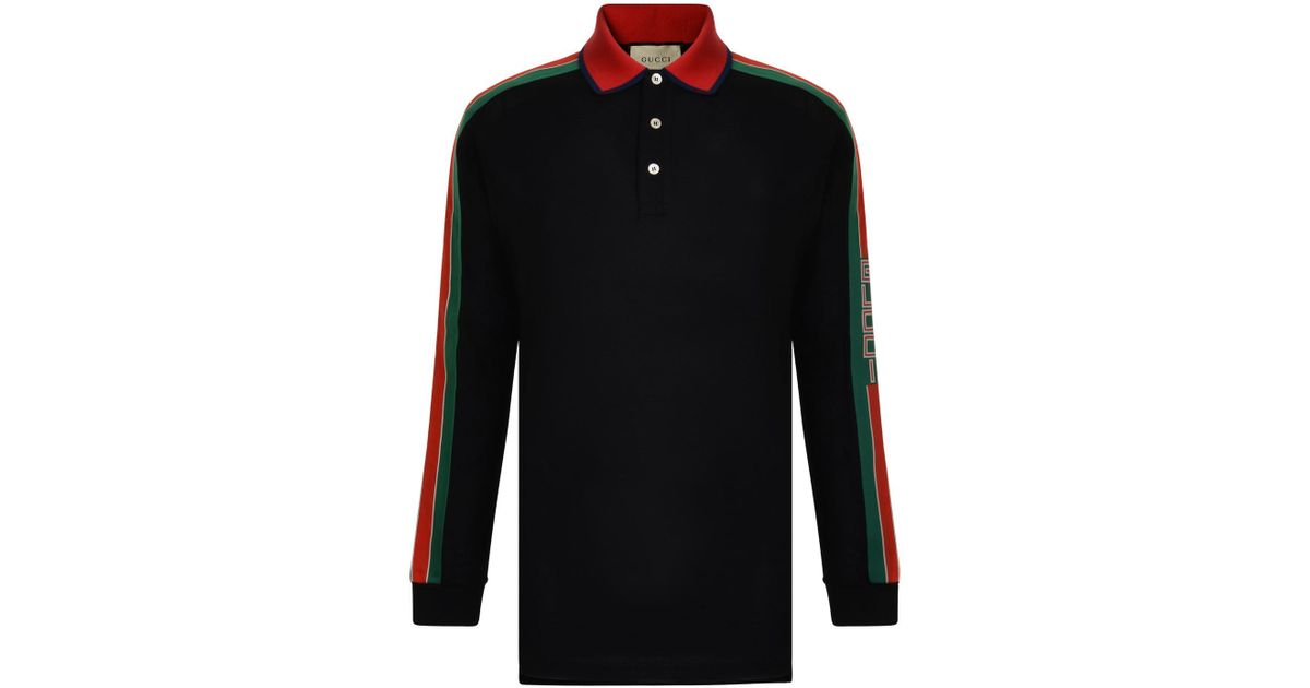 683606725cd Lyst - Gucci Tape Long Sleeve Polo Shirt in Black for Men