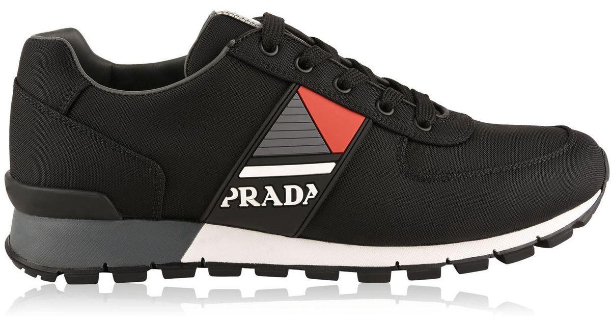 Prada Leather Logo Runner Trainers in
