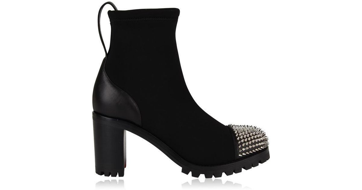 sale retailer 417b0 d74a5 Christian Louboutin Black Washy Neoprene Heeled Boots