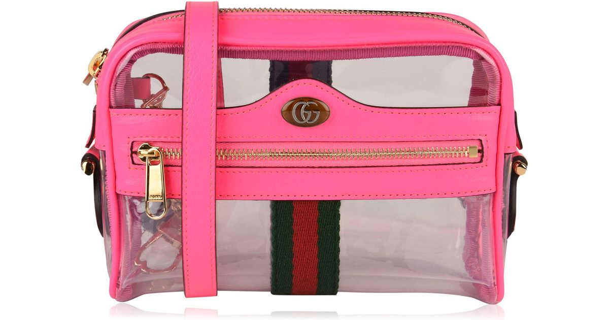 6714675e0 Gucci Ophidia Transparent Cross Body Bag in Pink - Lyst