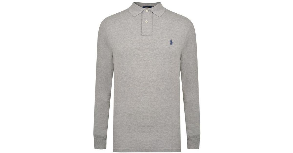 Lyst Fit Long Sleeved Shirt Custom Ralph Men Polo Lauren Gray For f67bgYIyv