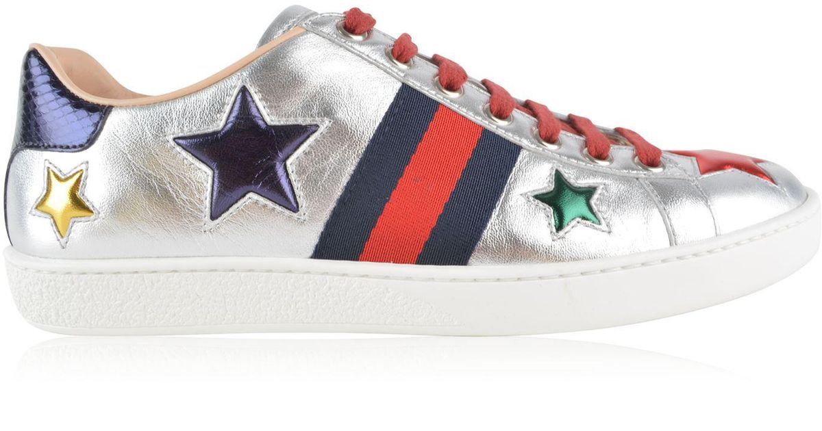 ecd748229 Gucci New Ace Star Patch Trainers in Metallic - Lyst