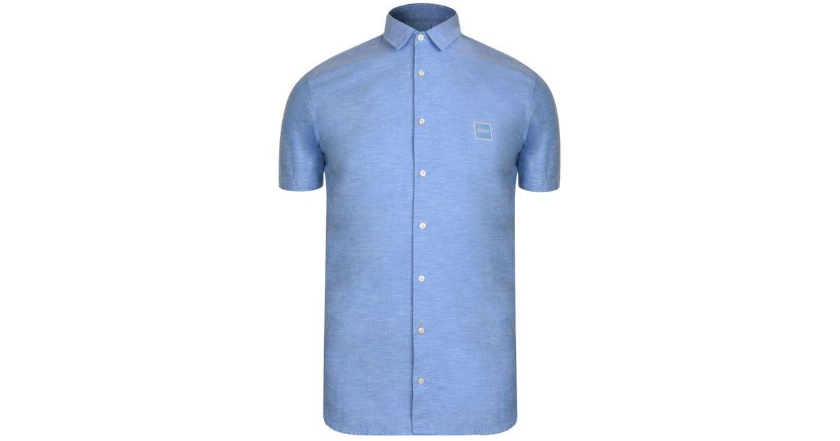 f5ae8a924 BOSS by Hugo Boss Magneton Short Sleeve Shirt in Blue for Men - Lyst