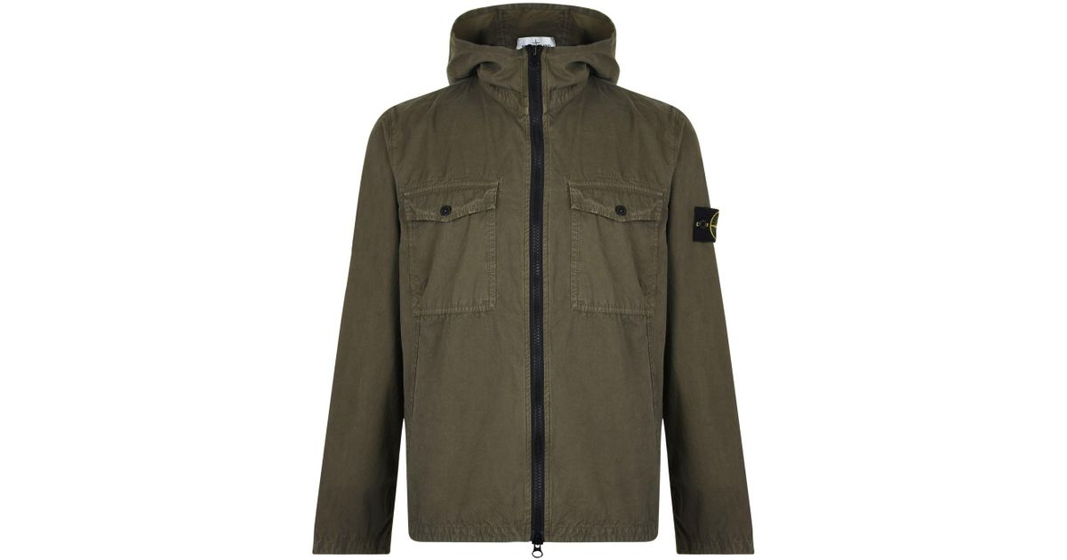b22afdec71a9 Stone Island Brush Canvas Hooded Jacket in Green for Men - Lyst