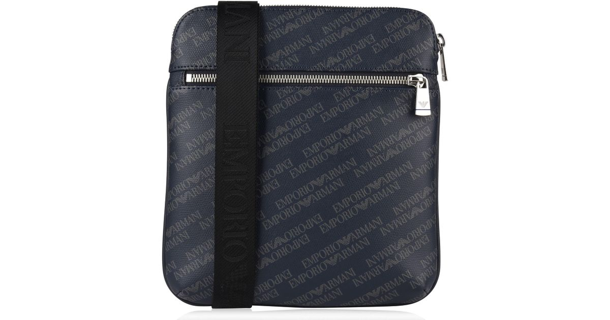 e63b97c74a Emporio Armani Blue All Over Logo Print Cross Body Bag