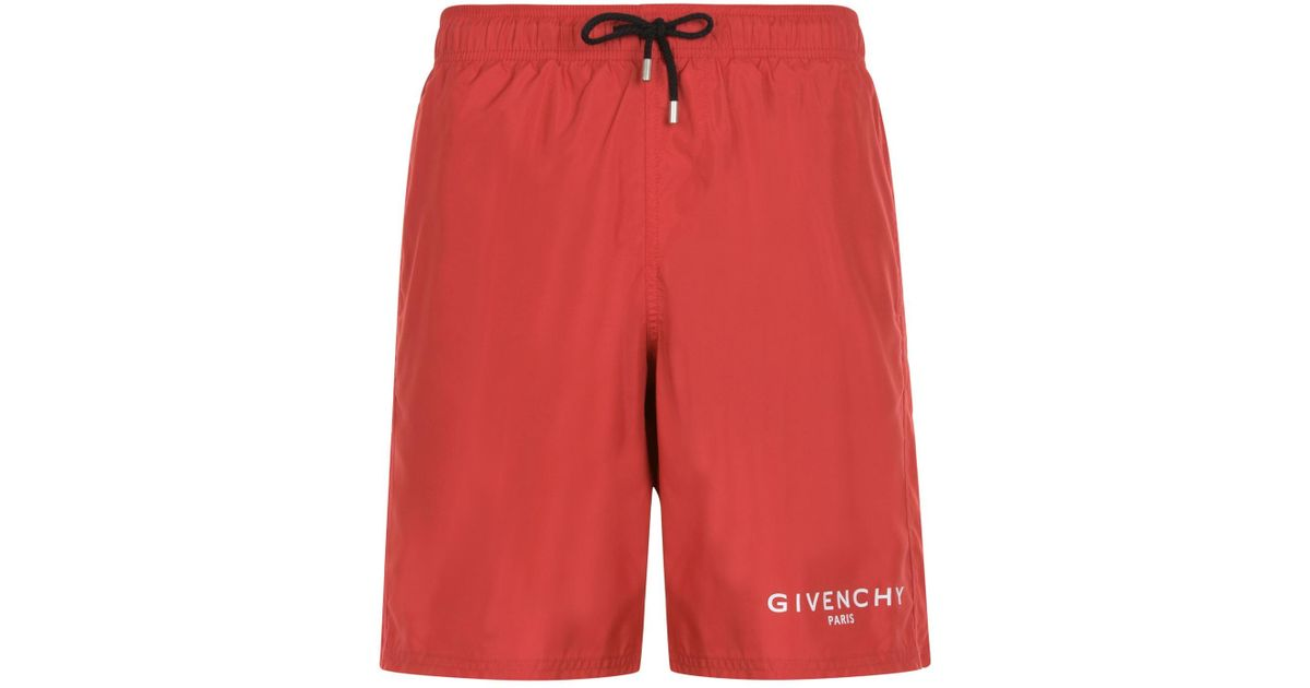 12a011a73af63a Givenchy Paris Logo Swim Shorts in Red for Men - Lyst