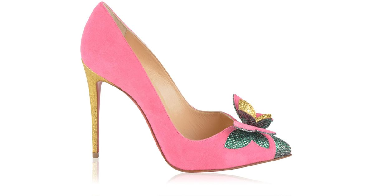 info for 73355 95c8e Christian Louboutin Pink Suede Butterfly Court Heels