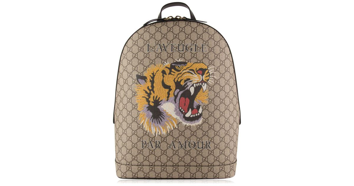 Lyst - Gucci Tiger Gg Supreme Backpack in Natural
