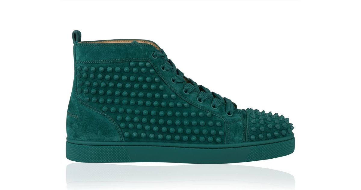 7c1e5055c3d Lyst - Christian Louboutin Louis Spikes Suede Sneaker in Green for Men