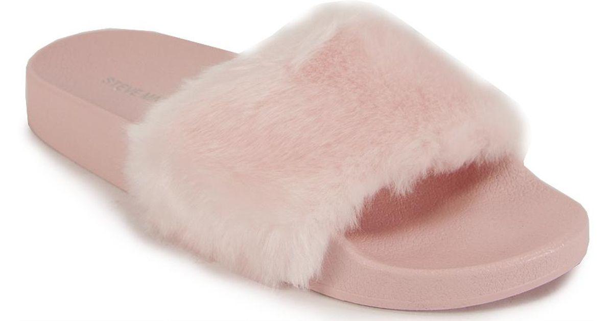 lyst steve madden fur pool slide in pink