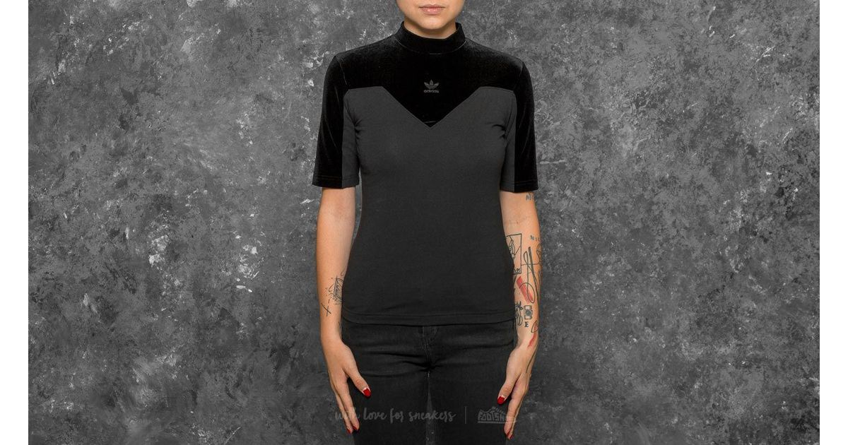 Lyst adidas Originals Adidas Velvet Vibes high Black neck tee negro in Black high 9f7137