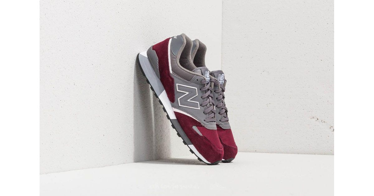 New Balance Leather 446 Grey/ Burgundy in Gray for Men - Lyst