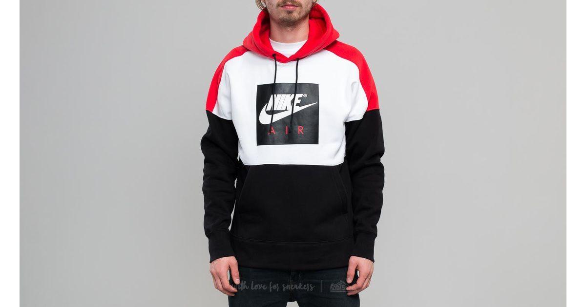 Lyst - Nike Sportswear Fleece Pullover Hoodie White  Red  Black in Black  for Men 6b5dd421fb10