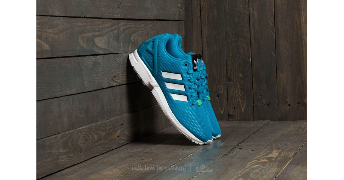 49d3212356e11 ... best price lyst adidas originals adidas zx flux bold aqua footwear  white green glow for men