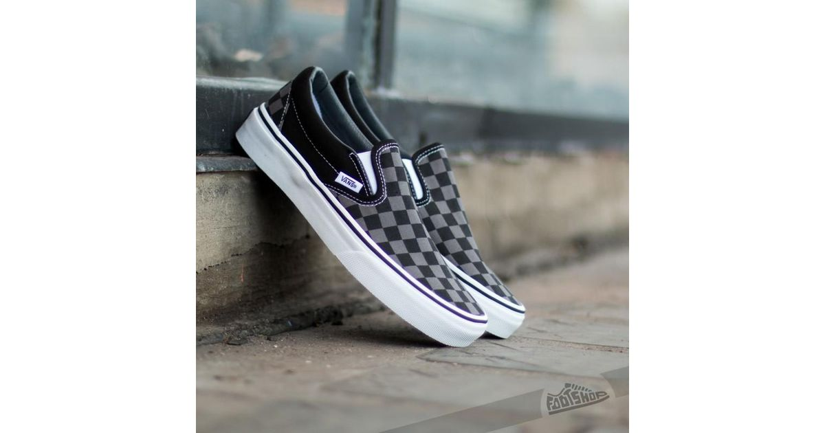 a220d06a9b Lyst - Vans Classic Slip-on Black  Pewter Checkerboard in Black for Men
