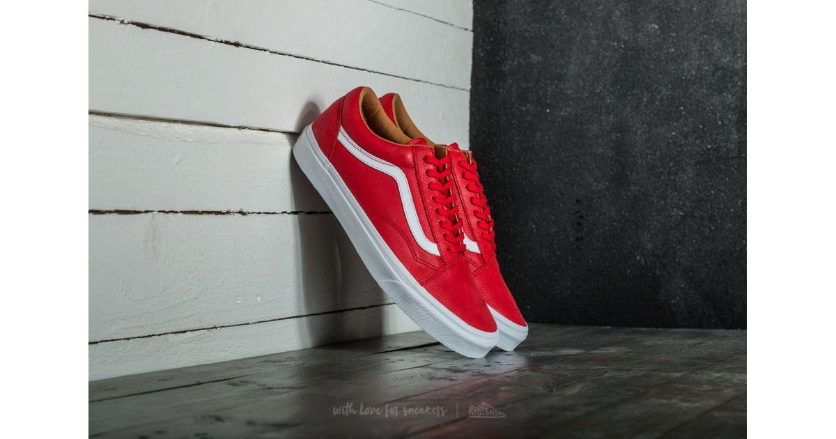 3dd2611859 Lyst - Vans Old Skool (premium Leather) Racing Red  True White in Red for  Men