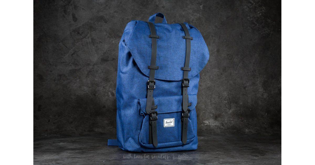 89a4536ea8d Lyst - Herschel Supply Co. Little America Backpack Eclipse Crosshatch  Black  Rubber in Blue