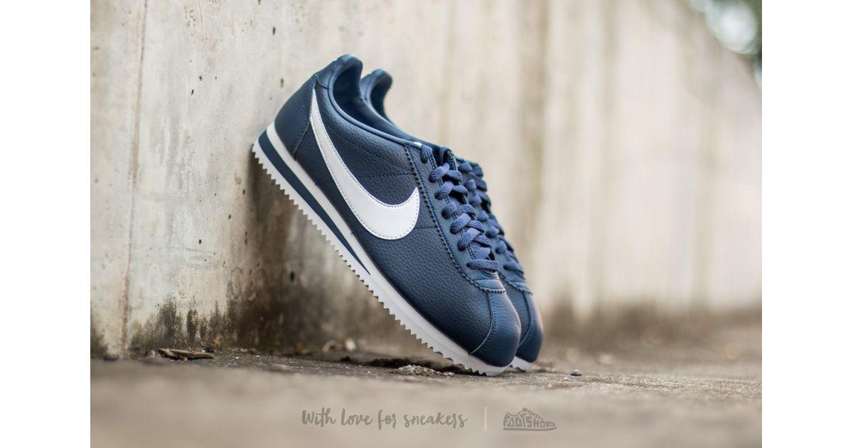 nike cortez white navy blue