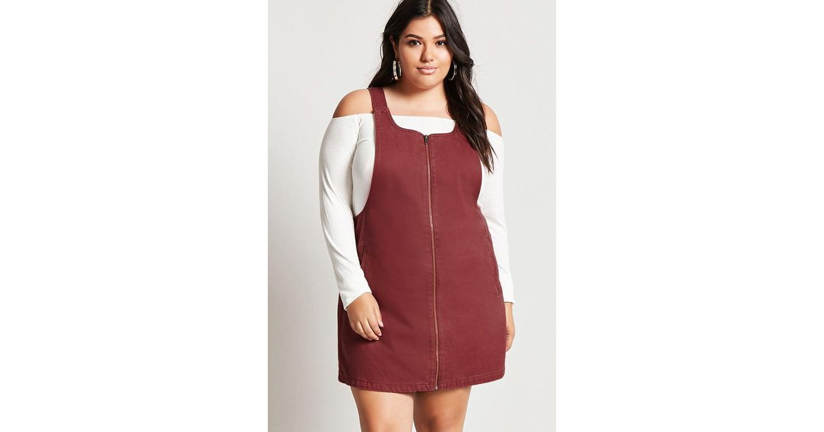 Forever 21 Plus Size Denim Overall Dress In Red Lyst