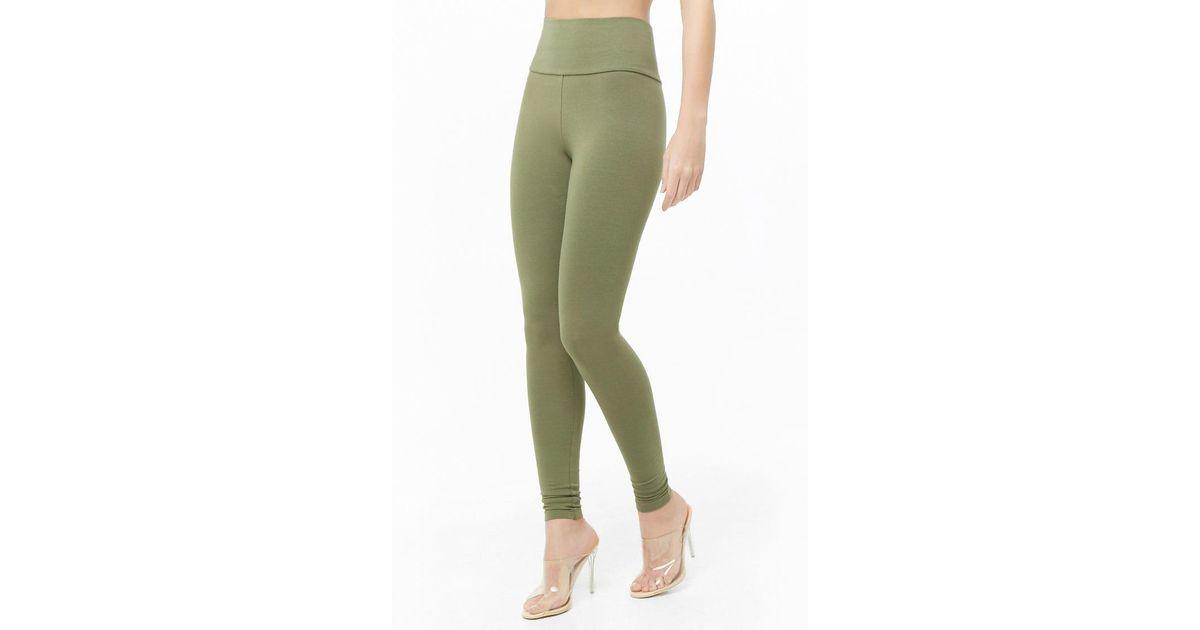 3329d45bb7e0 Lyst - Forever 21 Basic High-rise Leggings in Green