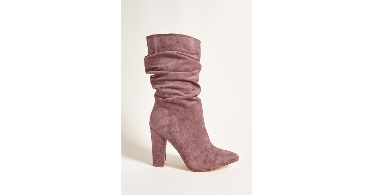 Forever 21 Faux Suede Mid-calf Boots in