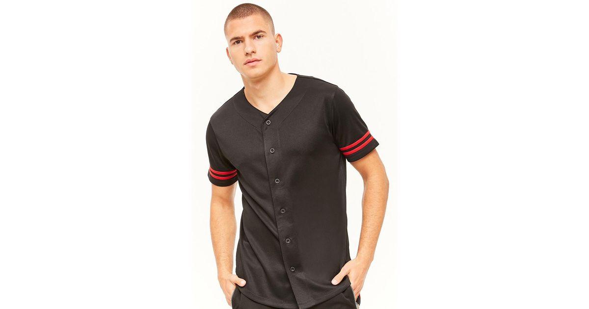 992ce4f88 Lyst - Forever 21 Varsity-stripe Baseball Jersey in Black for Men
