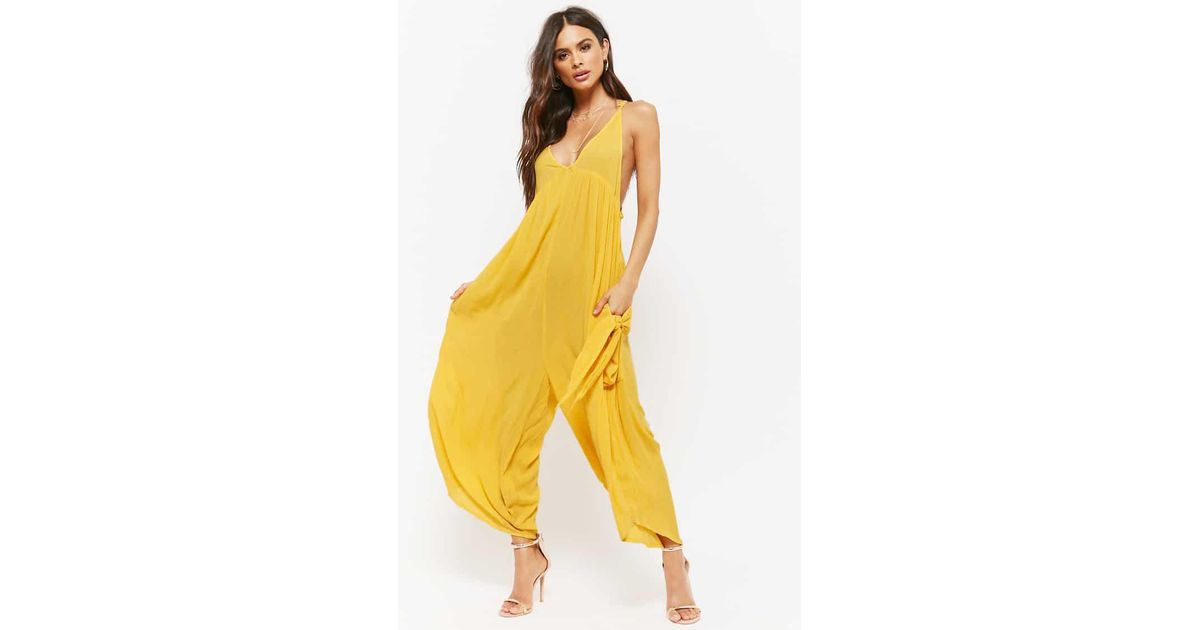 48aa305a0590d Forever 21 Amale Harem Jumpsuit in Yellow - Lyst