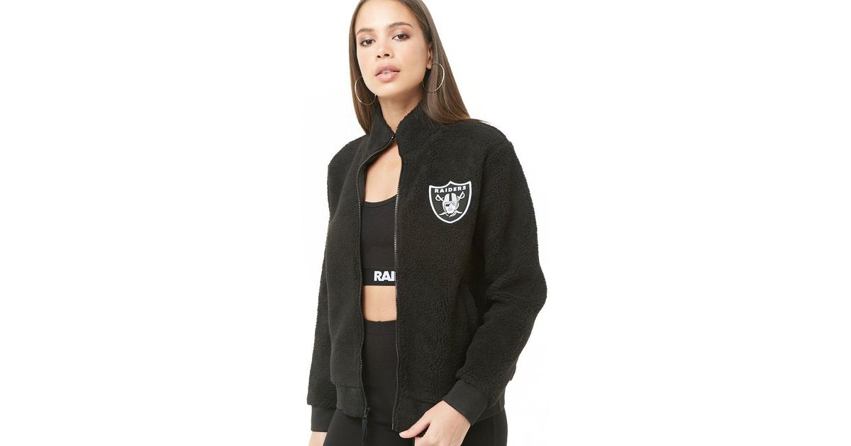 reputable site 9c869 7f55d Forever 21 Black Faux Shearling Raiders Jacket