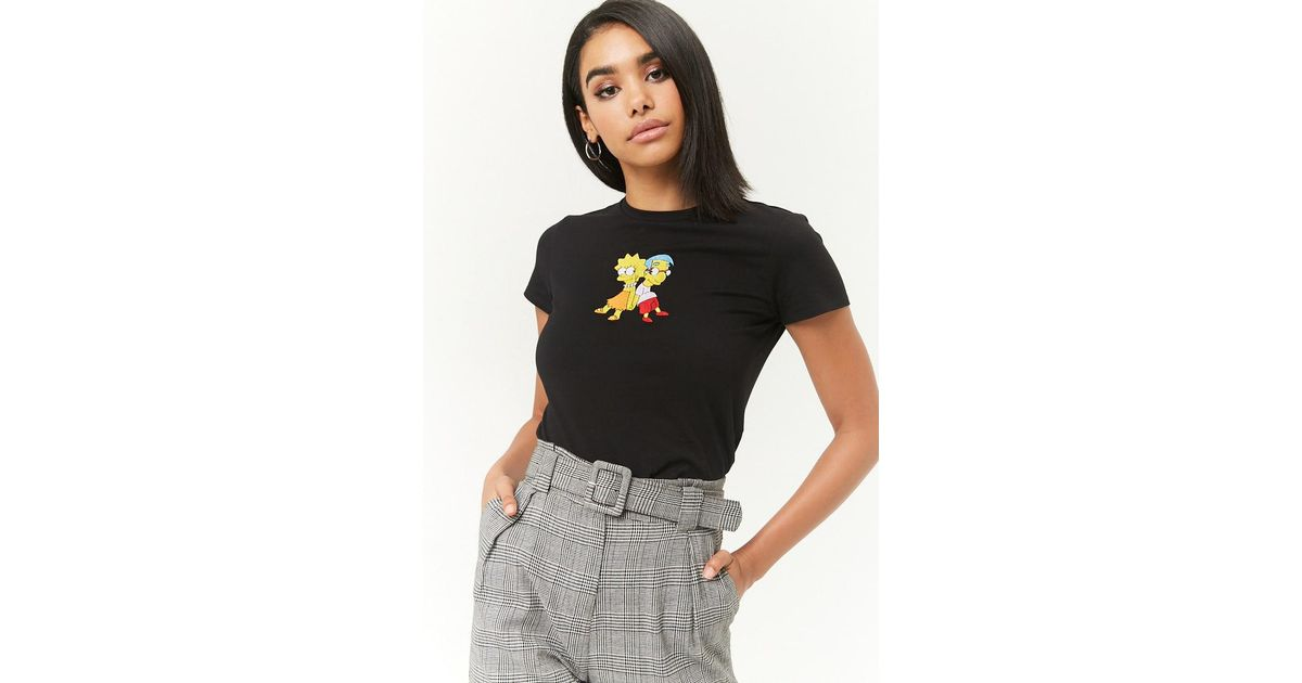 f3456fdbc9b1f Lyst - Forever 21 The Simpsons Lisa   Milhouse Graphic Tee in Black