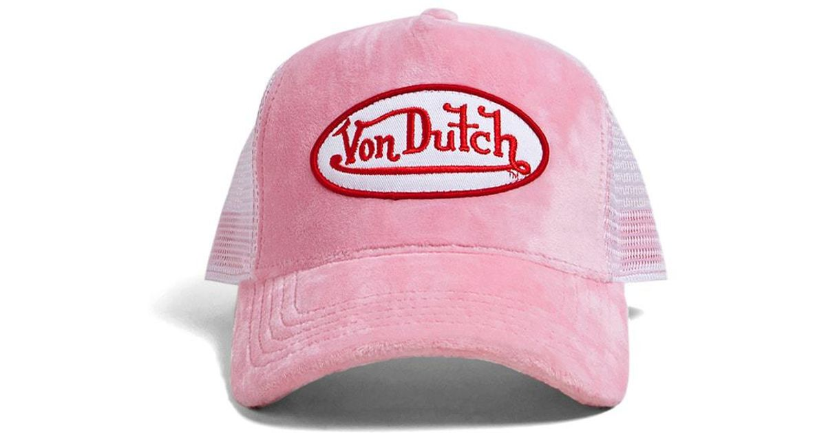 Lyst - Forever 21 Von Dutch Velvet Trucker Hat in Pink 4e94081b9b6