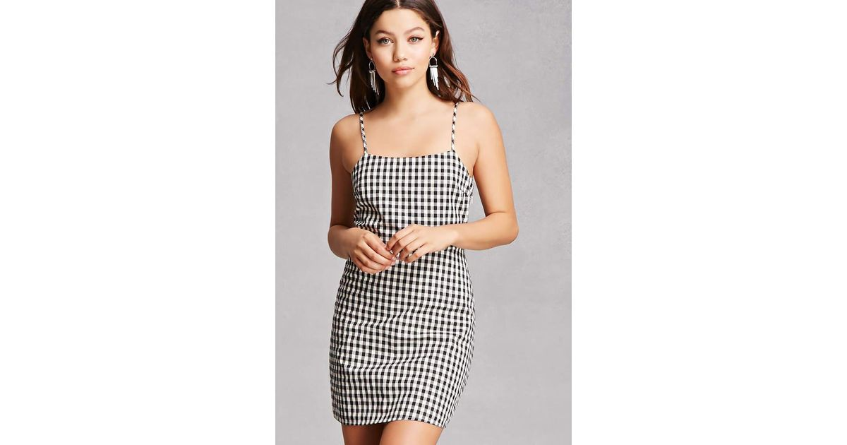 940f1dc536a Forever 21 Gingham Cami Dress in Black - Lyst