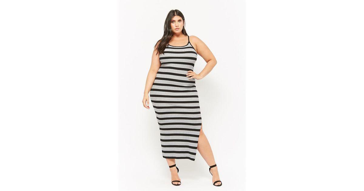 fc70fe6b63c4 Forever 21 Women's Plus Size Striped Cami Bodycon Maxi Dress in Black - Lyst